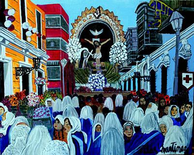 Procesion Del Sr De Los Milagros Print by Pilar  Martinez-Byrne