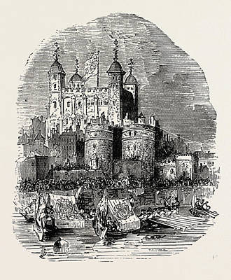 Tower Of London Drawing - Procession Quitting The Tower London by English School