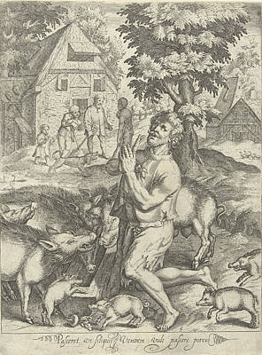 Piglets Drawing - Prodigal Son As A Swineherd, Nicolaes De Bruyn by Nicolaes De Bruyn