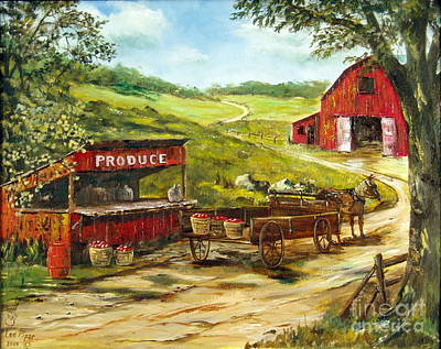 Fruit Stand Painting - Produce Stand by Lee Piper
