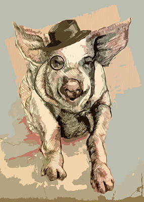 Pig Digital Art - Professor Pigglesworth by Alison Schmidt Carson