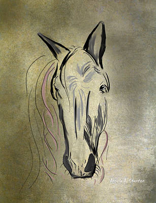 Profile Of A White Horse Print by Angela A Stanton