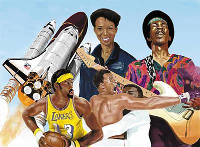 Digital Art - Jimi, Muhammad Ali, Wilt Chamberlain And Mae Carol Jemison by Thomas J Herring