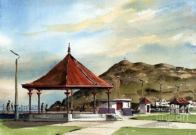 Prom Bandstand Bray Wicklow Print by Val Byrne
