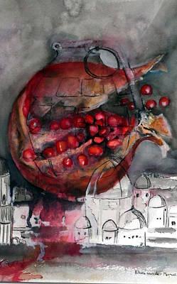 promegranate blooming in Jerusalem Print by Elani Van der Merwe