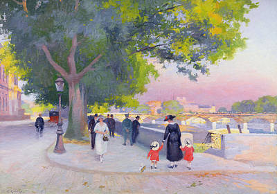 Gas Lamp Painting - Promenade On The Banks Of The Seine by Jules Ernest Renoux