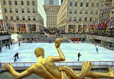 Prometheus From Behind - Rockefeller Center Print by Allen Beatty