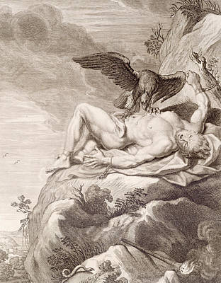 Prometheus Tortured By A Vulture Print by Bernard Picart