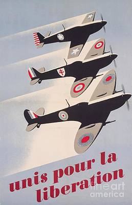 Jet Drawing - Propaganda Poster For Liberation From World War II by Anonymous