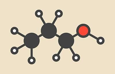 Propanol Solvent Molecule Print by Molekuul
