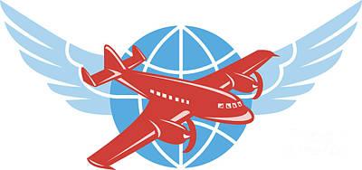 Airliners Digital Art - Propeller Airplane Wings Globe Retro by Aloysius Patrimonio