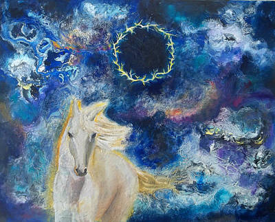 Prophetic Message Sketch Painting 6 Ring Of Lightning White Horse Original by Anne Cameron Cutri