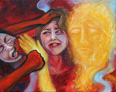 Jesus Painting - Prophetic Ms 37 Why Do You Strike Me? by Anne Cameron Cutri