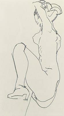 Schiele Drawing - Prostrate Female Nude by Egon Schiele