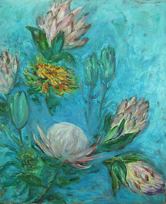 Garden Painting - Protea Flower Study I by Xueling Zou