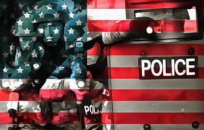Stars And Stripes Mixed Media - Protect And Serve by Dan Sproul