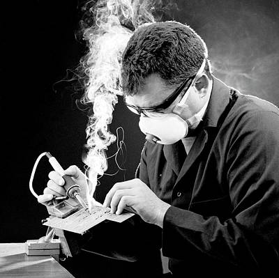 Protection From Soldering Fumes Print by Crown Copyright/health & Safety Laboratory Science Photo Library