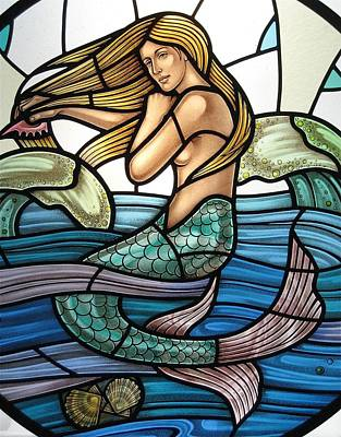 Protection Island Mermaid Print by Gilroy Stained Glass