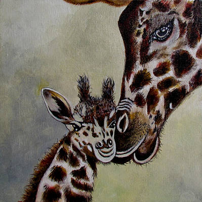 Mother And Baby Giraffe Painting - Protection by Susan Duxter