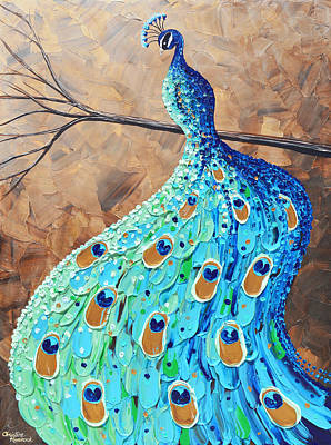 Proud And Graceful Peacock Print by Christine Krainock