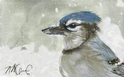 Bluejay Digital Art - Proud Blue Jay by Naomi McQuade