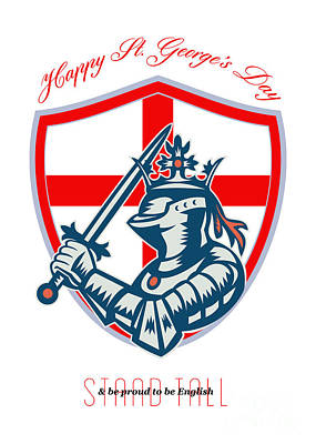 Proud To Be English Happy St George Day Shield Card Print by Aloysius Patrimonio