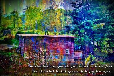 Proverbs 19 17 Print by Michelle Greene Wheeler