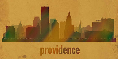 Providence Rhode Island City Skyline Watercolor On Parchment Print by Design Turnpike