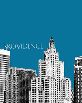 Pen Digital Art - Providence Skyline 1 - Steel by DB Artist