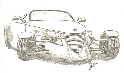 Street Rod Drawing - Prowler Sketch by Chris Thomas