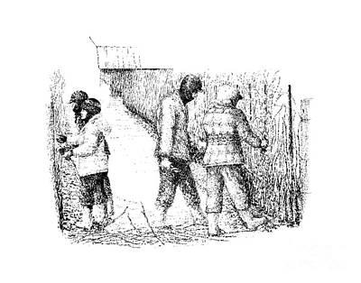 Pruning The Vines In Febuary Print by Steve Knapp