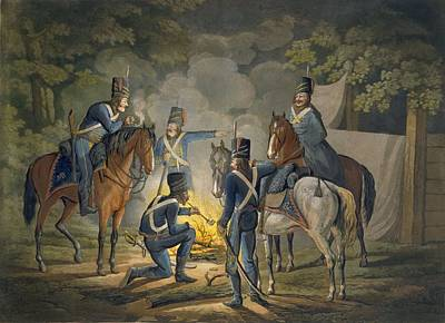 Prussian Hussars On A Night Picket Print by Conrad Gessner