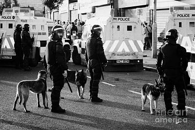 Psni Dog Handlers In Riot Gear And Dogs On Crumlin Road At Ardoyne Shops Belfast 12th July Print by Joe Fox