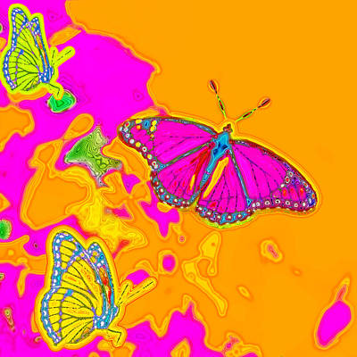 Psychedelic Butterflies Print by Marianne Campolongo
