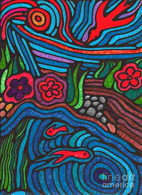 Colorful Abstract Drawing - Psychedelic Garden 3 by Sarah Loft