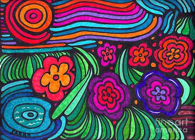 Psychedelic Garden Print by Sarah Loft
