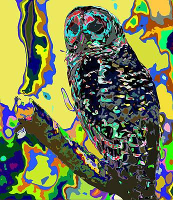 Lettuce Digital Art - Psychedelic Owl by Norman Johnson