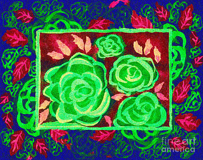 Multimedia Mixed Media - Psychedelic Roses - Autumn by Beverly Claire Kaiya