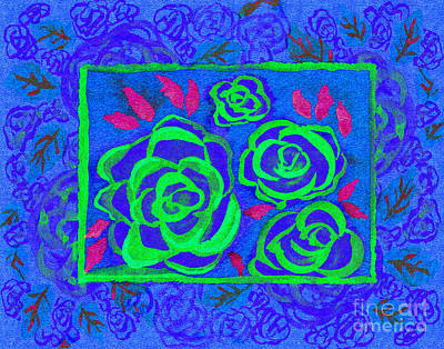 Multimedia Mixed Media - Psychedelic Roses - Summer by Beverly Claire Kaiya