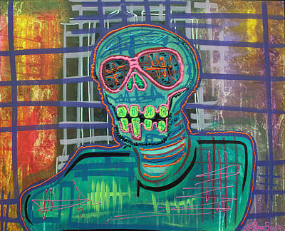 Hippie Painting - Psychedelic Skull by Laura Barbosa