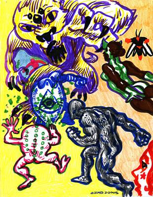 Comic Books Drawing - Psychedelic Super Battle by John Ashton Golden