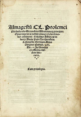 Book Title Photograph - Ptolemy's Almagest by Library Of Congress
