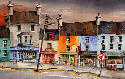Connaught Painting - Pub Street Ennistymon  Clare by Val Byrne