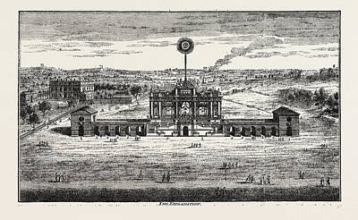 Fireworks Drawing - Public Fireworks, 1748, London, Uk by Litz Collection
