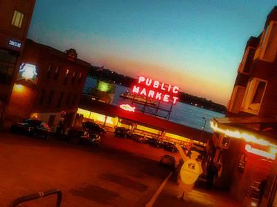 Seattle Photograph - Public Market At Dusk by Zoltan Spitzer