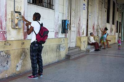 Public Telephones In Havana. Print by Mark Williamson