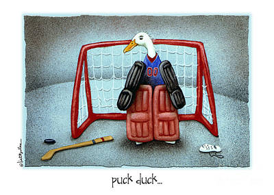 Hockey Painting - puck duck... by Will Bullas by Will Bullas