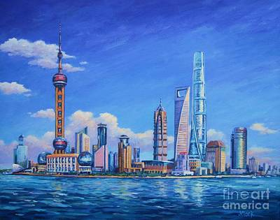 Hong Kong Painting - Pudong Skyline  Shanghai by John Clark