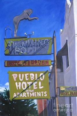 Acylic Painting - Pueblo Hotel by Katrina West