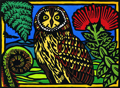 Lino-cut Mixed Media - Pueo Mana by Lisa Greig